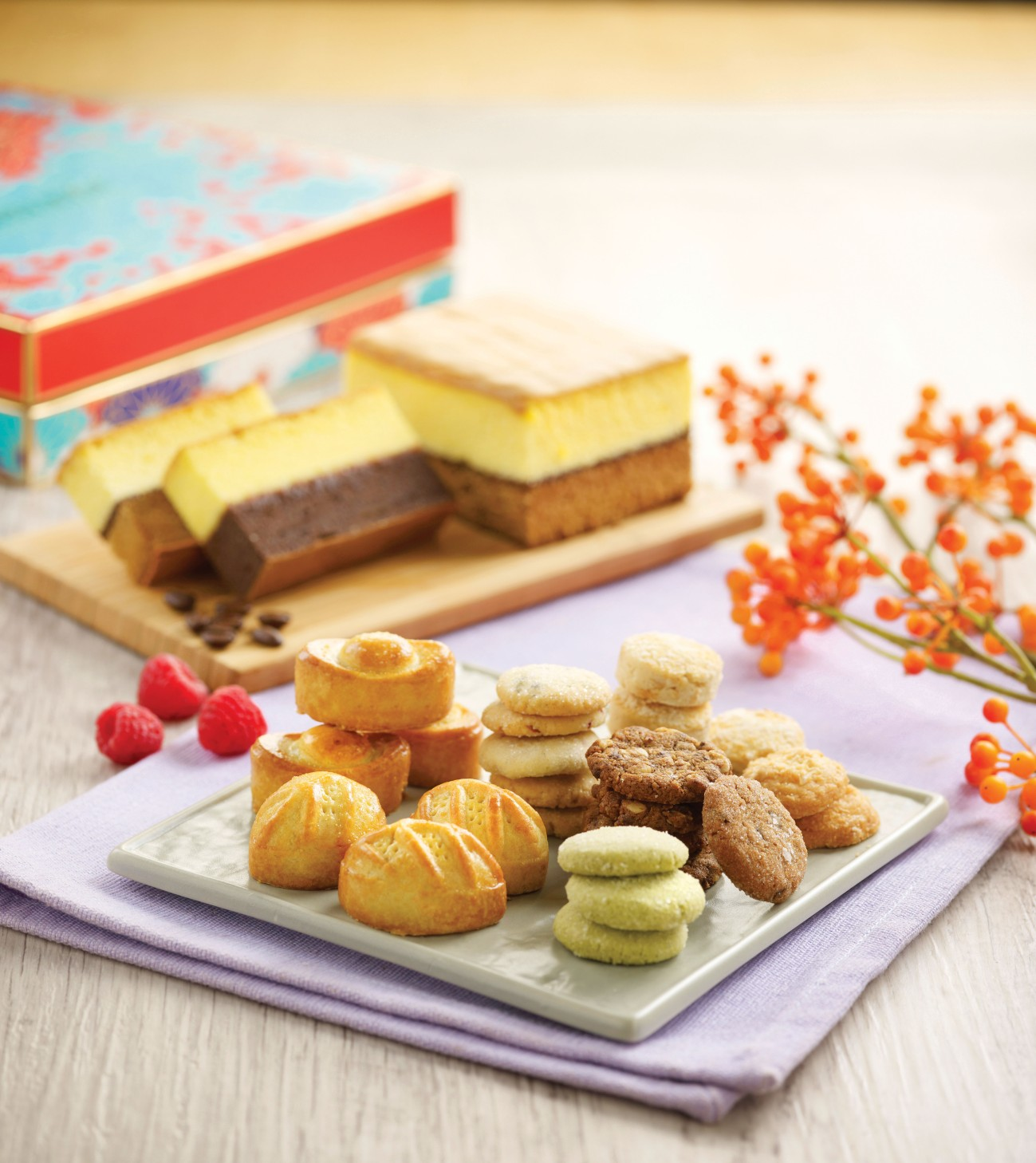 Bakerzin CNY 2016 - Group Visual of all cakes, tarts and cookies