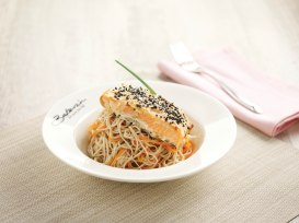 White Miso Grilled Salmon with Soba