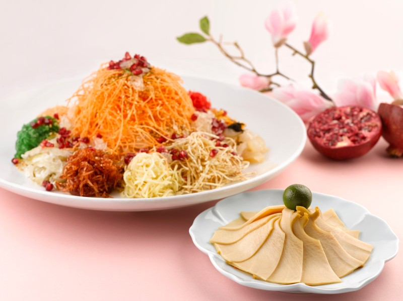 Crystal Jade CNY 2016 - Prosperity yu sheng with Mexican abalone and red pomegranate (fine dining)