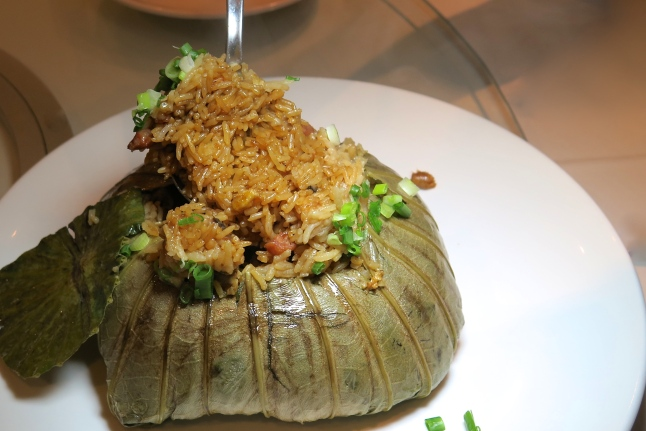 Steamed Fried Rice wrapped in Lotus Leaf