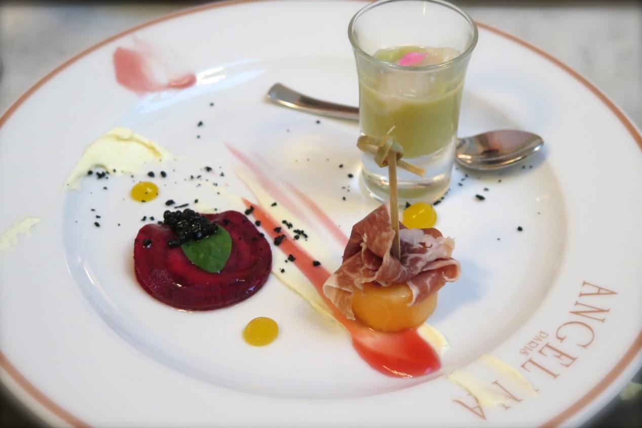 Amuse Bouche - Beetroot Feta Ravioli with Herring Caviar, Jamon Bellota and Rock Melon, Avocado Cold Soup with Hokkaido Scallop Ceviche