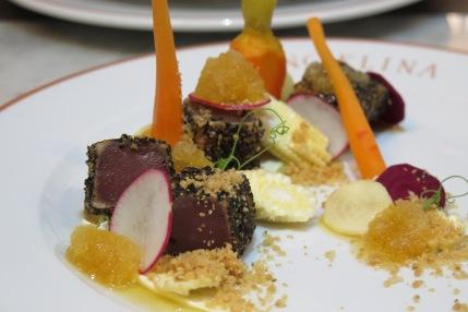 Starter Option 1 - Yellowfin Tuna au Poivre, Angelina tea granite, baby vegetables, creme fraiche