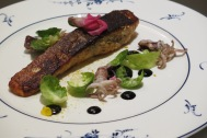Main Option 1 - Fjord Trout, baby squid, brussels sprout, cauliflower puree