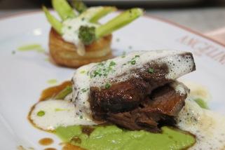 Main Option 3 - Beef Cheek pot au feu, Asparagus vol-au-vent, Asparagus mousseline, Hazelnut butter emulsion