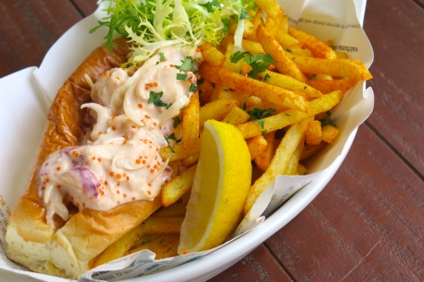 Lobster Roll, Tobiko, Pickle, Fries $39