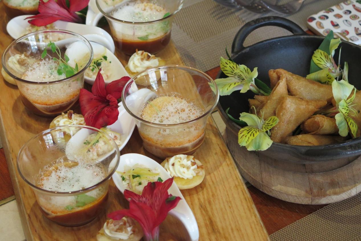 Crab and Citrus Ravioli Suspended, Norway Lobster Tartare Mojo