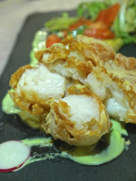 Deep-Fried Scallop with Salted Egg Yolk and Chilled Organic Tomato with Avocado Sauce