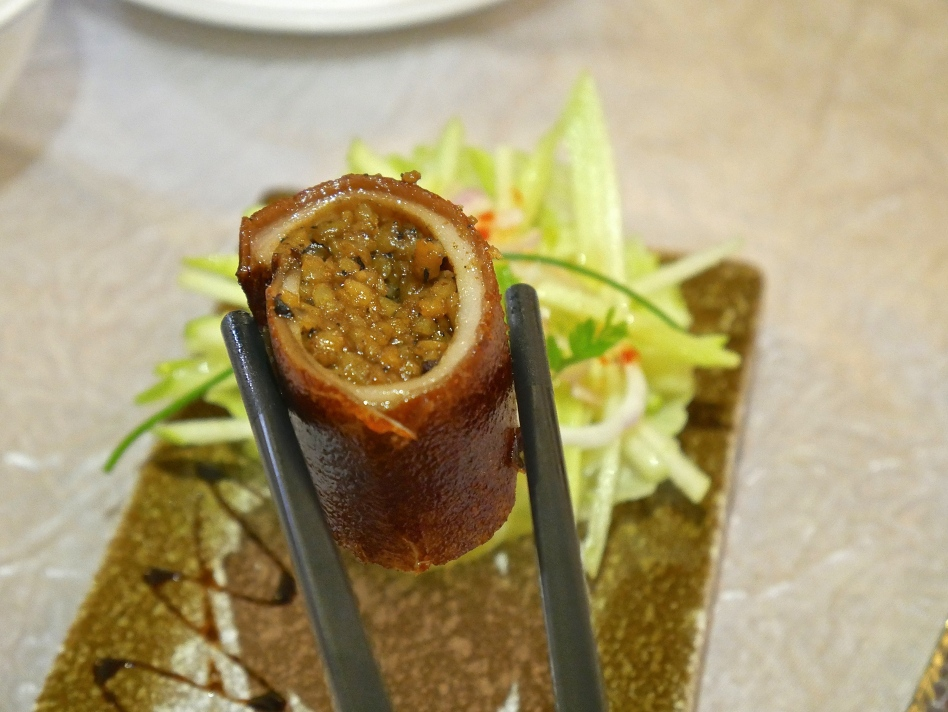 Roasted Baby Suckling Pig Rolled with Black Truffle Pearl Rice
