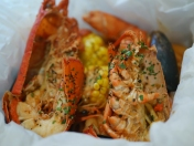 Lobster in a Pan with Penne Pasta in Garlic Cream Sauce or Spicy Tomato Sauce