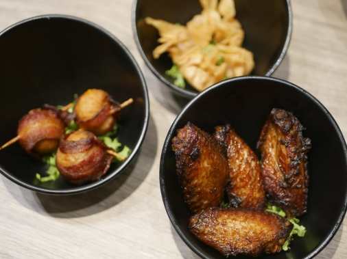 Bacon Cheese Ball, Chef's Special Fried Wanton and Fried Taucu Wings