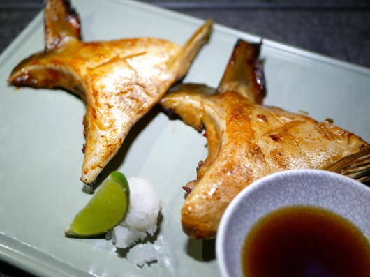 Tapas - Grilled Hamachi served with Tempura sauce and Grated Radish