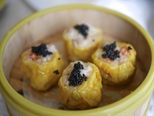 Steamed Pork & Shrimp Dumpling topped with Caviar