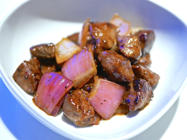 Stir-Fried Beef Cube in Black Pepper Sauce