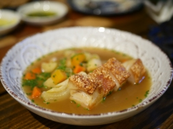 Grilled Pork Belly in Garden Vegetable Broth ($22)
