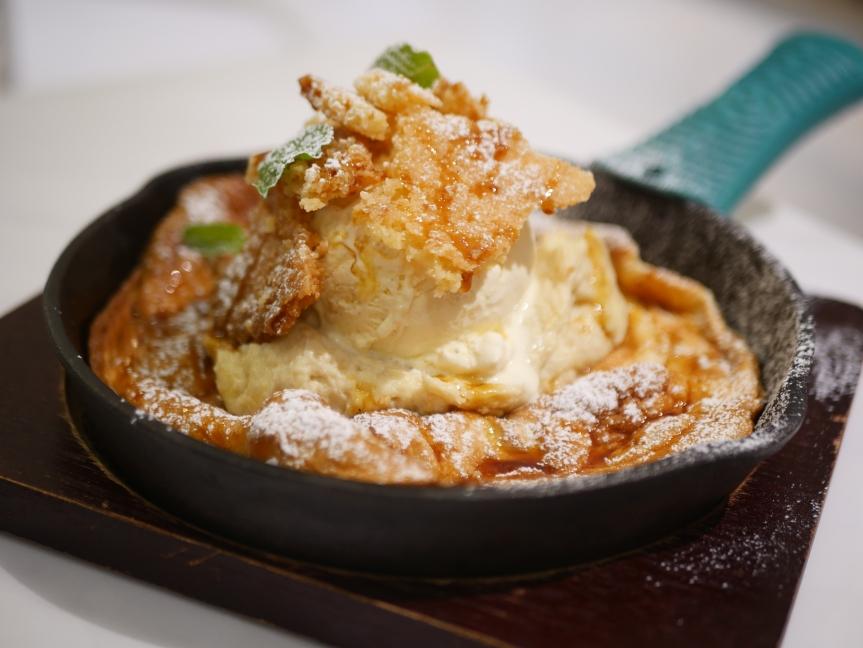Durian & Coconut Deutsch Skillet Pancake ($13)