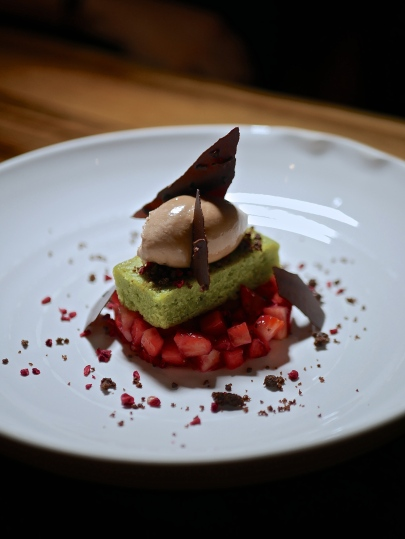 Green tea, chocolate, and strawberry