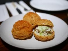 Crab sandwich & green harissa ($7/piece)