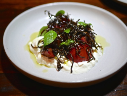 Burrata, plums, shio kombu & basil ($23)