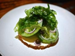 Green zebra tomatoes, black olive & sea lettuce ($20)