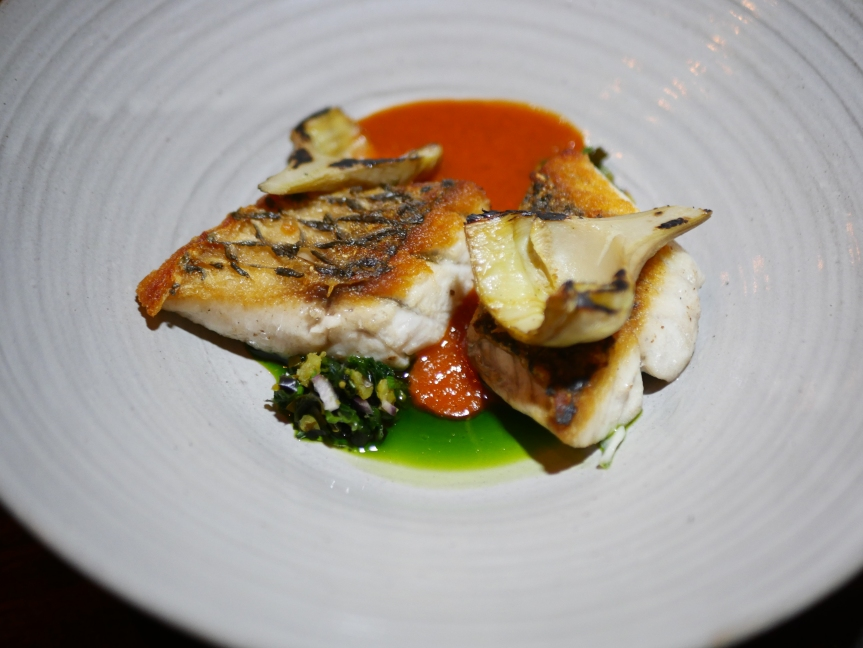 Roasted barramundi, artichokes, seaweed & charred red pepper sauce ($34)