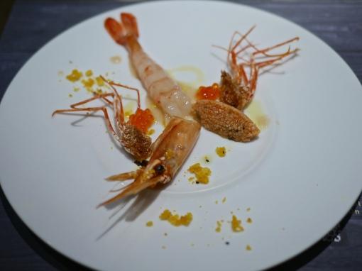 1st Appetiser - Botan Shrimp with Tosazu Bubble, Salmon roe & couscous salad