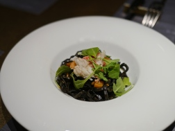 3rd Course Pasta - Squid Ink Tagliolini with Snow Crab Basil Leaf And EX Virgin Olive Oil