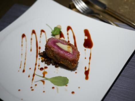 5th Course - Mozzarella with Lamb Tender Loin Fritto Lentil, Celeriac Puree, Japanese Pepper & Fond de veau
