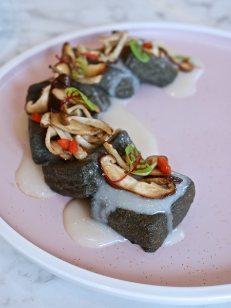 Homemade Charcoal Tofu with Assorted Mushrooms ($16.80)