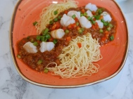 Sweet & Spicy Minced Meat Noodles with Prawn in HK Style ($9.80)