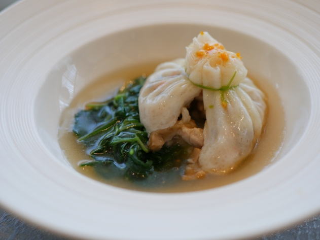Steamed Diced Abalone and Shrimp Wrapped in Egg White Crepe ($18)
