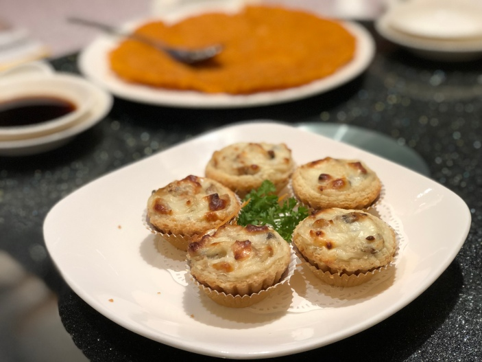 Baked Cheese Tart with Marinated Diced Chicken