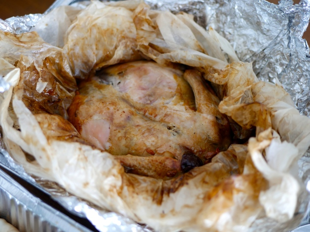 Paperbag imperial herbal whole chicken in fragrant Chinese herbal broth