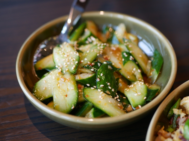 Crispy Organic Cucumber with Spicy Sauce