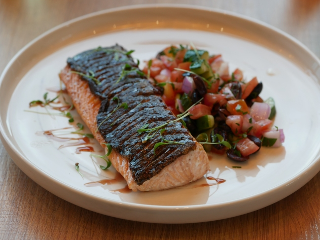 Pan-seared Norwegian Salmon with Mediterranean Salsa